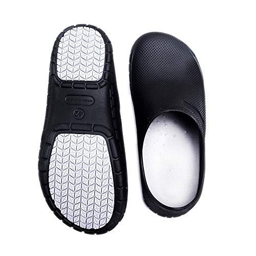 JSWEI Professional Slip Resistant Clog Unisex Work Shoe Chef Shoe Nurse Shoe Construction Shoes Doctor Shoes Black 7.5