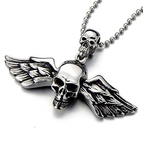 COOLSTEELANDBEYOND Gótico, Cráneo Alas ángel, Collar con Colgante de Hombre Mujer, Acero Inoxidable, Biker, Diablo,Demonio, Bola Cadena 75CM