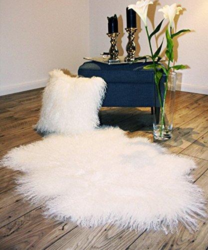 Tibetlammfell Schaffell lockiges Lammfell 100cm in weiß ökologisch gegerbt Fellteppich Bettvorleger