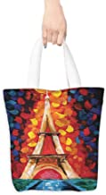 Eco-Friendly Purse Bag,Eiffel Tower Paris France Romantic,Fits in Pocket Waterproof & Lightweight,16.5