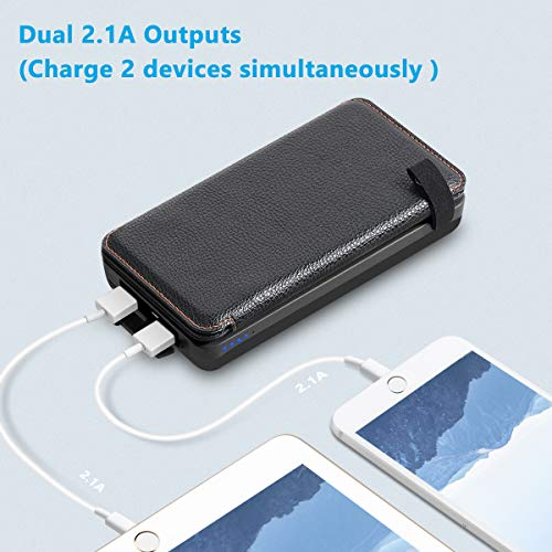 Hiluckey Solar Charger 25000mAh Solar Power Bank with Dual USB 2.1A Output and LED Flashlight Portable Phone Charger for…