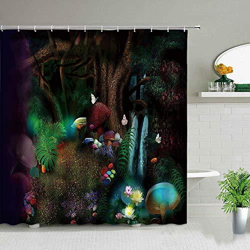 XCBN Cuento de Hadas Bosque Casa Paisaje Cortinas de Ducha Flor de Cactus Árbol mágico Paisaje Imprimir Cortinas de baño Impermeables A10 150x180cm