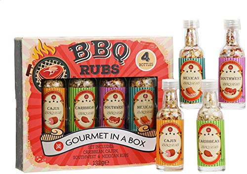 Modern Gourmet Foods, Vintage BBQ RUB Set, Include 4 Mix di Spezie per Barbecue e Arrosti Saporiti