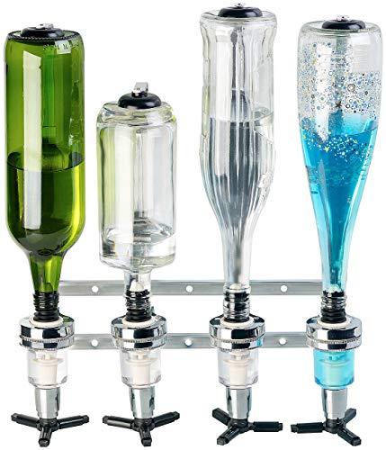 Rosenstein & Söhne Bar Butler: Aluminium-Flaschenhalter und Dosierer, 4-fach, für Wandmontage (Bar Flaschenhalter)