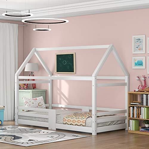 ModernLuxe Kinderbett Hausbett,Vollholz mit Zaun und Lattenrost, mit Rausfallschutz f¨¹r Kinder- und Jugendzimmer