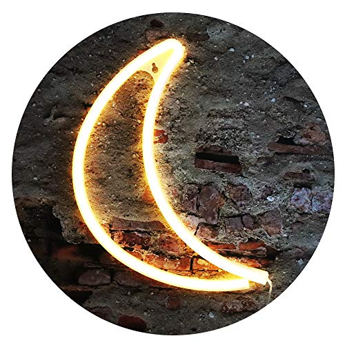 LED Moon Neon Signs, Crescent Night Lights USB Battery Operated Hanging Moon Lamp for Birthday Party, Wedding, Halloween, Christmas Decorations-Moon (Warm White)