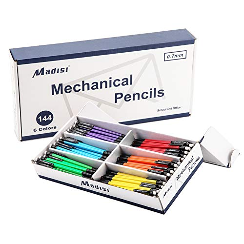 Madisi Mechanical Pencil, 0.7mm Medium Point, HB #2 Lead, Assorted Barrels, 144-Count