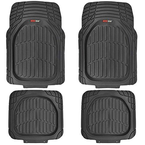 Motor Trend FlexTough Tortoise - Heavy Duty Rubber Floor Mats for All Weather Protection - Deep Dish (Black)