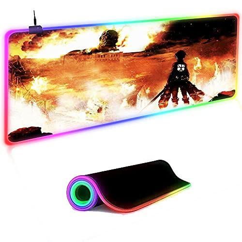 Gaming Mouse Pad Attack on Titan Gaming Mouse Pad RGB Led Light Computer Keyboard Pc Mat Large Mousepad XL Gamer Laptop Desk Mat 35.4 inch x15.7 inch