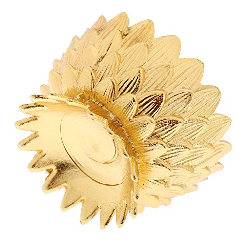 MagiDeal Lotusform Butterlampe Kerzenhalter Ghee Lampenhalter Tibetische Butter Messing Öllampe