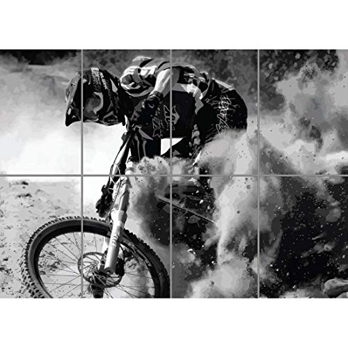 Doppelganger33 LTD Mountain Bike Downhill MTB Wand Kunst Multi Panel Poster drucken 47x33 Zoll