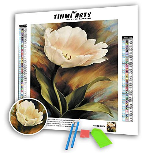 TINMI ARTS 5D Diamond Painting Full Round with AB Drills Kits for Adults DIY Mosaic Cross Stitch Pattern Handmade Embroidery Kits Wall Decor[15'x 24' Single Tulip]