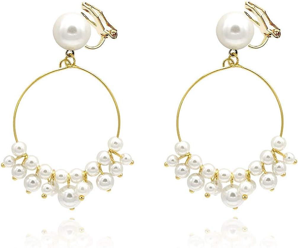 Clip on Earrings no Pierced Circle Dangle Drop Pearl Tassel Beads Women Girls Kids Bride Bridesmaid Gold