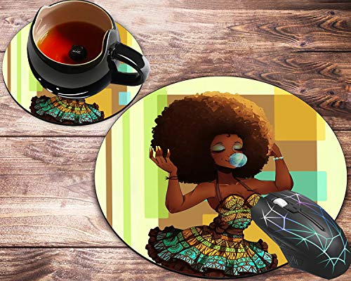 Round Mouse Pad and Coaster Set, African Art Women with Bubble Gum Painting Mousepad, Non-Slip Rubber Base Gaming Mouse Pads for Working Or Game