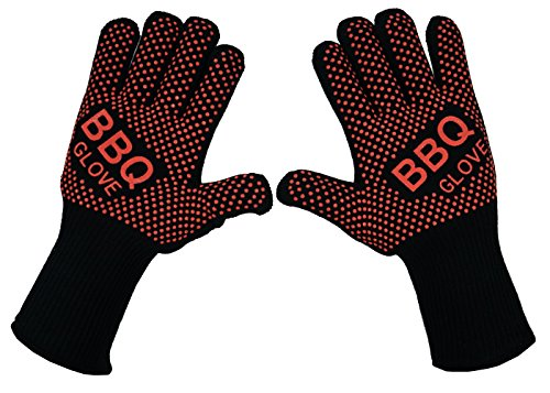 VlixIt BBQ Grill Oven Gloves - Fireproof, Insulated Heat Resistant Mitt for Barbecue, Smoker, Grill, Baking, Turkey Fryer Oven Cooking Gloves. Light-Weight Durable and Professional Non-Slip