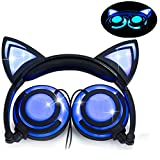 Headphone Cat Ear Headset,LED Light with USB Chargeable Foldable Earphones for Kids Teens Adults, Compatible for Ipad,Tablet,Computer,Mobile Phone LX-R107 (Black&Blue)