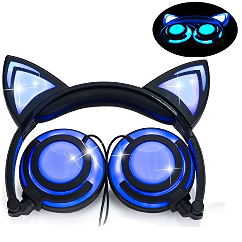 Olyre Headphone Cat Ear,LED Light with USB Chargeable Foldable Earphones for Kids Teens Adults, Compatible for Ipad,Tablet,Computer,Mobile Phone LX-R107 (Black&Blue)