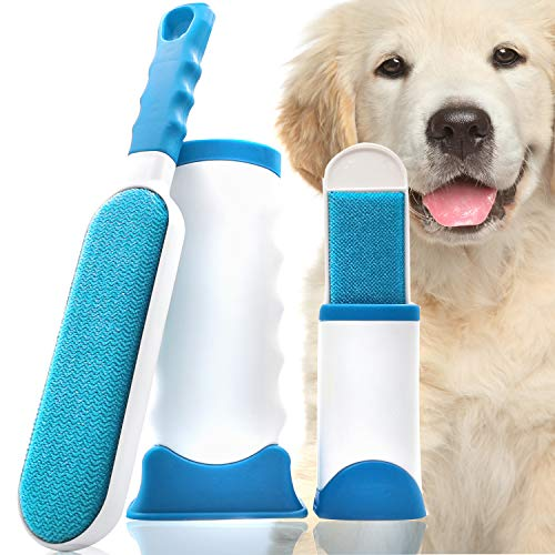 HESLAND Pet Hair Remover Brush with Self-Cleaning Base, Dog Cat Hair Remover for Furniture, Clothing, Car Seat, Carpet, Couch, with 1pcs Free Mini Pet Hair Remover