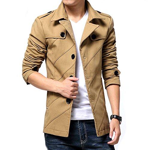 [ Make 2 Be ] テラード ジャケット スタイリシュ メンズ ジャケット コート アウター ビジネス カジュアル 裏地黒 無地 春 秋 冬 防寒 スリム から 大きいサイズ MA02 (12.ベージュ_XLサイズ)