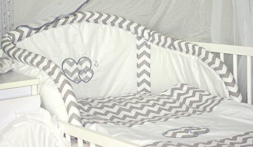 Baby's Comfort Parure de lit bébé ENSEMBLE DE 6 PIÈCES DE LITERIE CHOIX COULEURS HEARTS (s'adapte lit 120x60 cm, 5)