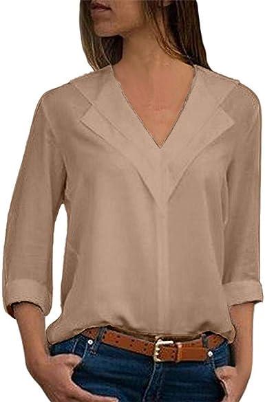 Camisas para Mujer, Moda Camiseta Sólida Mujer Gasa Blusas de Oficina de Manga Larga Lisa de Mujer Elegantes de Vestir Fiesta Camisetas Chica riou