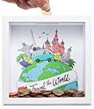 GLÜCKSWOLKE - Hucha Viaje I Travel the World I Huchas originales para Adultos I Huchas de Dinero I Hucha Viajar De Madera I Regalo para Viajeros I 3D Marco de Fotos I Mapa del Mundo I Regalar Dinero