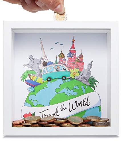 GLÜCKSWOLKE - Spardose Reisen I Motiv Travel The World I Urlaubskasse Reisekasse I Geldgeschenke Verpackung I Sparschwein Deko Geschenk I 3D Rahmen zum Befüllen I Money Box Urlaub Sparbüchse