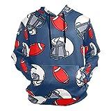 Moda impresión 3D de dibujos animados de Rugby Sombrero Patrón Unisex Pullover Cool Sudaderas con bolsillo canguro para hombres y mujeres