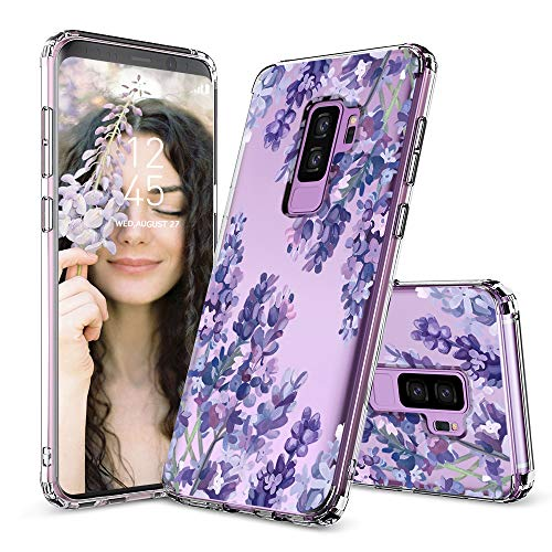Case for Galaxy S9 Plus,MOSNOVO Shockproof TPU Bumper Slim Clear Case with Floral Design for Samsung Galaxy S9 Plus Phone Case Cover - Lavender