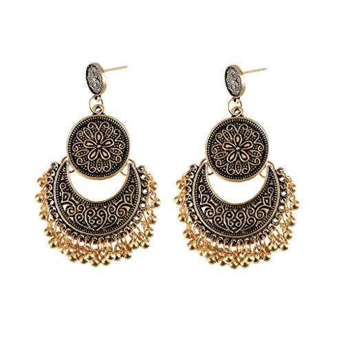 6Wcveuebuc Pendientes colgantes étnicos Bali oro brocado loto México gitano moda joyería fiesta decoración