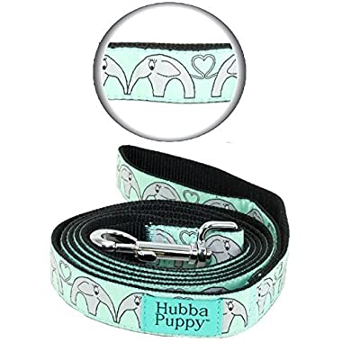 Hubba Puppy Elephant Hearts Nylon Dog Leash, Large, 1 in by 6 feet, Mint Green and Grey