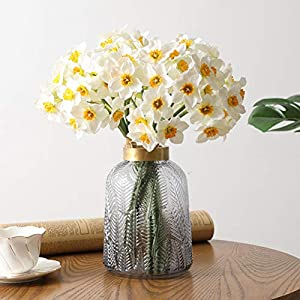 Shirt Luv 6Pcs Artificial Narcissus Flower Simulation Daffodil Artificial Flower for Home Wedding Decor