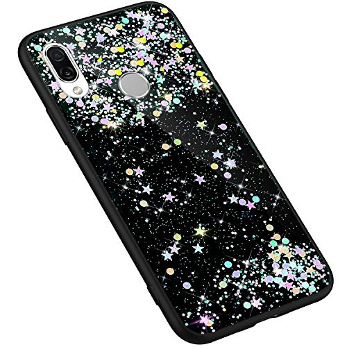 Uposao Huawei Honor Play Coque Silicone Glitter de, Coque Etui Housse Paillette Brillantes Bling Diamants Transparente Crystal Clear Ultra Mince Anti-Choc Souple Flex Soft Skin Case,Noir 1#