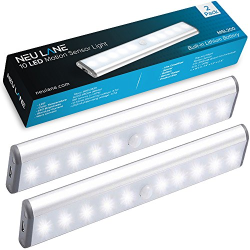 Neu Lane 10 LED Light Strip (Upgraded) - Ultra Bright Magnetic Light Bar w/USB Rechargeable Battery & Motion Sensor Mode - Best Wireless Stick On Lighting for Under Cabinet, Counter & Closet (2 Pack)