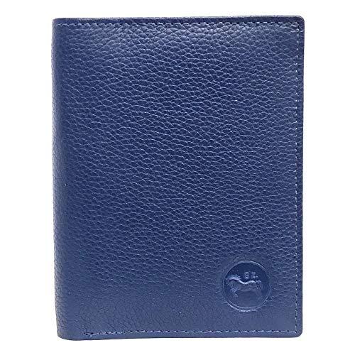 LOLUNA® Etui Porte Carte de crédit RFID - NFC- 3 Volets - 9 Cartes - Mini Portefeuille - Compact - Homme/Femme - Cuir Vachette Véritable - Bleu Marine