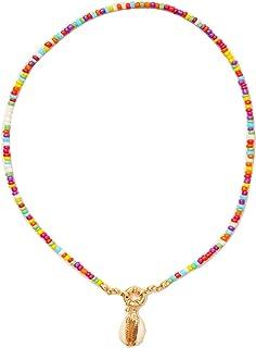 Bohemian Bead Pearl Shell Choker Necklace Handmade Colorful Seed Beaded Choker Summer Beach Jewelry for Women Girls Teen