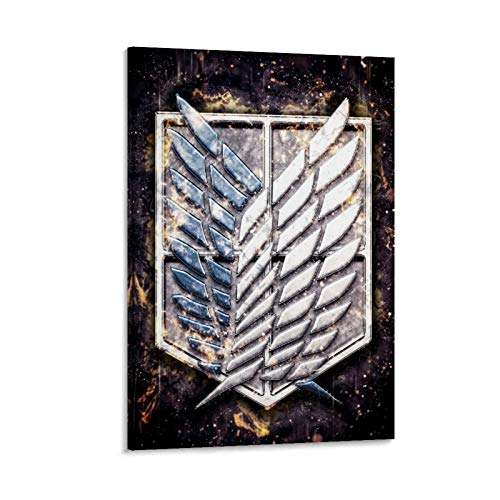 Pster de anime Attack on Titan para decoracin de pared, diseo de alas de la libertad ataque en Titan para sala de estar, dormitorio, 60 x 90 cm, listo para colgar, enmarcado