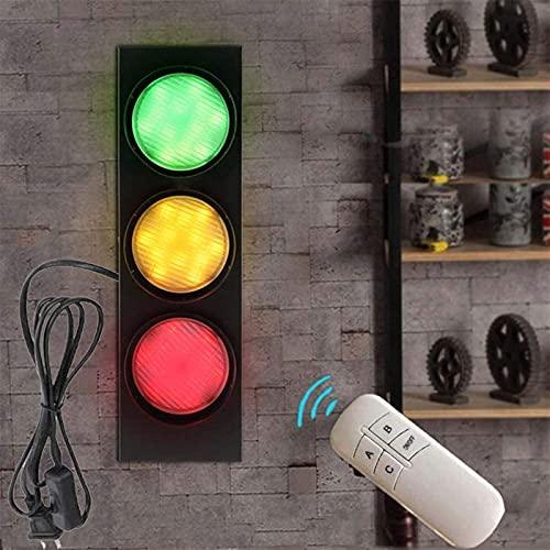JeeKoudy Semáforo con función de Advertencia de Interruptor de Control Remoto, lámpara de Pared roja Interior LED con Interruptor y Enchufe Señales de tráfico Señales de Pared Focos de Pared