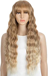 NOBLE Long Wavy HD Lace Front Wigs with Bangs 28 inches Synthetic Lace Wigs for Women Honey Blonde Wig with Bangs