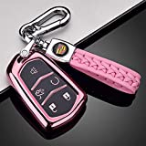 121Fruit Way Key Fob Cover for Cadillac, Key Fob Case for 2015-2019 Cadillac Escalade CTS SRX XT5 ATS STS CT6 5-Buttons Premium Soft TPU 360 Degree Full Protection Pink