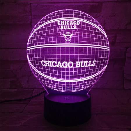 YI KUI Schreibtisch-Lampen 3D Chicago Bulls Basketball 3D Lampe erstaunliche optische Täuschung Acryl-Panel USB-Kabel Farben ändern Touch Base Lamp
