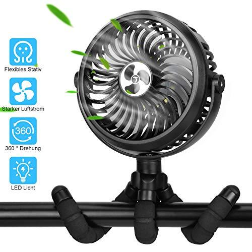 TAECCL USB Ventilator, Handventilator Mini Ventilator Tischventilator Leise Nachtlicht 3 Geschwindigkeiten & 360° Drehung, 2000 mAh Batterie 5V-2A für Kinderzimmer, Auf Reisen, Camping im Freien