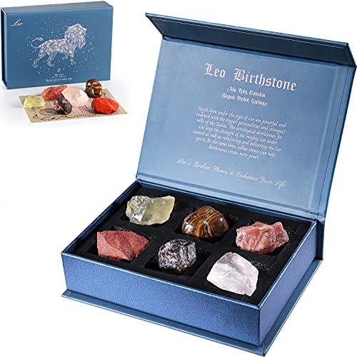Faivykyd Leo Crystal Gift-Zodiac Sign Stones to Complement The Birthstone-Natural Healing Crystals with Horoscope Box Set