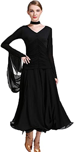 Liu Sensen Femmes Classique Danse Jupe Latine Danse Belly Dance Costumes Poitrine Plier Deep V-Cou Noir Lait Fibre De Bal Danse Plus Taille XL 2XL