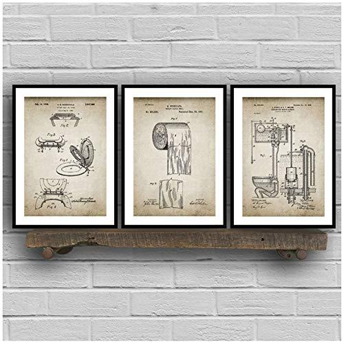ZHANGSHAIFFBH canvas, voor de badkamer, vlies, bedrukt, toiletpapier, canvas, vintage, muur, moderne kunst, decoratie thuis 70x90cm(27.6