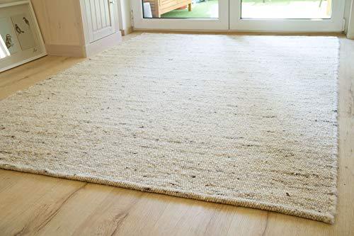 Steffensmeier Handweb Teppich Korinth | Gesunder Wollteppich | Beste Schurwolle | Natur Dunkel, handgewebt, Größe: 200x290 cm