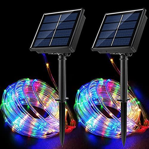 JosMega Solar String Rope Lights 33 Feet 100 LED Outdoors 8 Modes Twinkle Lighting Waterproof IP 65 Tube Fairy Lights Upgraded Larger Powered Panels Starry Decoration Lighting