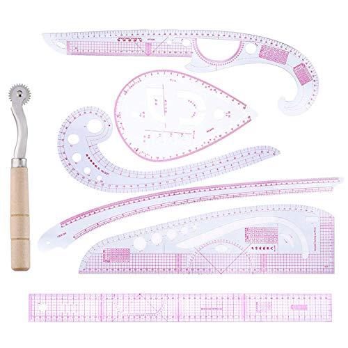 Soapow 7 piezas curva métrica regla multifunción costura vestido haciendo herramienta de sastre para diseñadores, fabricantes de patrones y sastres
