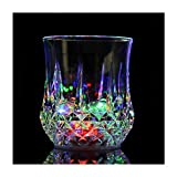 Flash Light Up Cups,[2 PCS] Automatic Water Activated LED glowing wine glasses Liquid Activated Multicolor LED Glasses