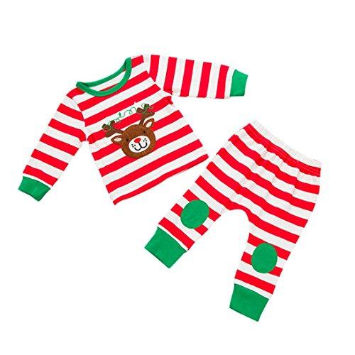 Longra Kerstmis baby meisjes jongens hert gestreept elastisch bovendeel lange mouwen tops T-shirt Kerstmis + gestreepte broek, kerstkostuum kinderen Kerstmis baby kleding voordelig 0-24 maanden